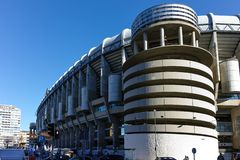 Outside view of Santiago Bernabeu Stadium in City of Madrid, Spain. MADRID, SPAIN - JANUARY 21, 2018: Outside view of Santiago Bernabeu Stadium in City of Madrid royalty free stock images