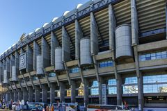 Outside view of Santiago Bernabeu Stadium in City of Madrid, Spain. MADRID, SPAIN - JANUARY 21, 2018: Outside view of Santiago Bernabeu Stadium in City of Madrid stock image