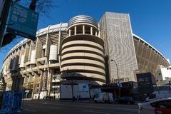 Outside view of Santiago Bernabeu Stadium in City of Madrid, Spain. MADRID, SPAIN - JANUARY 21, 2018: Outside view of Santiago Bernabeu Stadium in City of Madrid royalty free stock photography