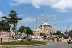 Outside view of Selimiye Mosque Built between 1569 and 1575 in city of Edirne, East Thrace, Turke royalty free stock photography