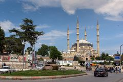 Outside view of Selimiye Mosque Built between 1569 and 1575 in city of Edirne, East Thrace, Turke royalty free stock images
