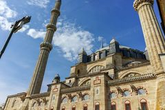 Outside view of Selimiye Mosque Built between 1569 and 1575 in city of Edirne, Turkey royalty free stock photography