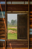 Outside view from window of wooden house Royalty Free Stock Image