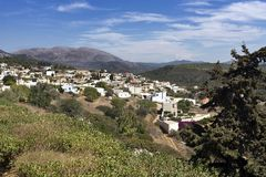 Rhodes island, panoramic view of Monolithos greek village, South Aegean region, Dodecanese Islands, Greece. Outside the village is the medieval Castle, access to royalty free stock photography