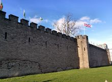 Outside wall in Cardiff castle Wales, United Kingdom. Perimeter wall in Cardiff medieval Castle located in Wales United Kingdom on a clear spring day stock photography