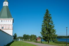 Outside the walls of the monastery on lake Valdai royalty free stock photography