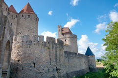Outside walls of Porte Narbonnaise at Carcassonne Stock Photography