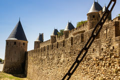 Outside walls of Porte Narbonnaise at Carcassonne in France Stock Photo