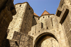 Outside walls of Porte Narbonnaise at Carcassonne in France Royalty Free Stock Photos