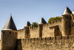 Outside walls of Porte Narbonnaise at Carcassonne in France Stock Image