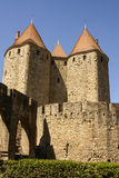 Outside walls of Porte Narbonnaise at Carcassonne in France Royalty Free Stock Images