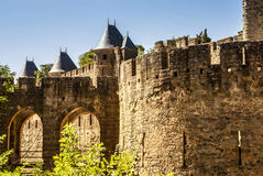 Outside walls of Porte Narbonnaise at Carcassonne in France Royalty Free Stock Photography