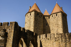 Outside walls of Porte Narbonnaise at Carcassonne in France Stock Photos
