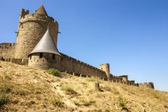 Outside walls of Porte Narbonnaise at Carcassonne in France Stock Photography