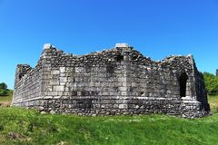 Outside walls of remains of Loch Doon castle Royalty Free Stock Photo