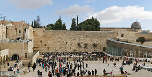 Outside the Western wall. Crowd at the Western wall stock images