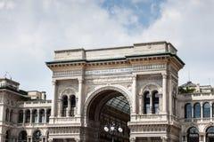 Outside widok Galleria Vittorio Emanuele II zakupy centrum handlowe zdjęcie stock