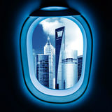 Outside the window of the plane cityscape Royalty Free Stock Photo