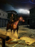 Outsider at night. A cowboy arrives to a town at night, at the time of a storm and lightnings in the sky Vector Illustration