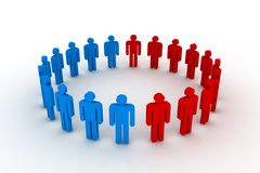 Outsiders. People in circle - outsiders - 3d illustration Royalty Free Stock Images