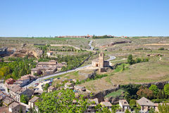 Outskirts of city Segovia and temple of the Knights Templar Stock Images