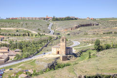 Outskirts of city Segovia and temple of the Knights Templar Royalty Free Stock Photo