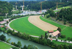 Outskirts of Fribourg from above. Stock Photos