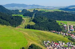 Outskirts of old town Stara Lubovna. Bright sunny day with mountains in the distance. view from the top. lovely travel destination of Slovakia stock photos