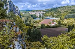 Outskirts of st cirq lapopie precipices Stock Photo