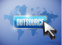 Outsource button and cursor over a world map Royalty Free Stock Images