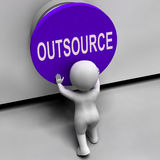 Outsource Button Means Freelancer Or Independent Stock Image