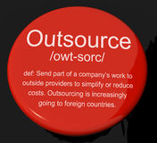 Outsource Definition Button Showing Subcontracting Suppliers And Stock Photography