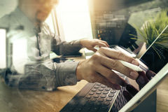 Outsource Developer working on marble Desk Working Laptop Comput Royalty Free Stock Photos