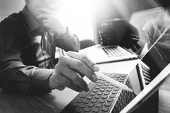 Outsource Developer working on marble Desk Working Laptop Comput Royalty Free Stock Photography