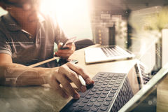Outsource Developer working on marble Desk Working Laptop Comput Royalty Free Stock Image