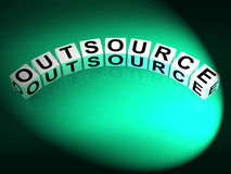 Outsource Dice Show Outsourcing and Contracting Employment. Outsource Dice Showing Outsourcing and Contracting Employment vector illustration