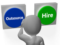 Outsource Hire Buttons Show Subcontracting Or Freelancing Stock Photography