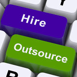 Outsource Hire Keys Showing Subcontracting And Freelance Royalty Free Stock Photo