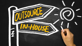 Outsource or in-house signpost hand drawing on blackboard Royalty Free Stock Photography