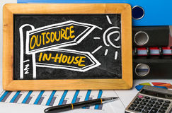 Outsource or in-house signpost hand drawing on blackboard Stock Photo