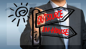 Outsource or in-house signpost hand drawing by businessman Royalty Free Stock Photo