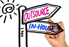 Outsource or in-house signpost hand drawing on whiteboard. Outsource or in-house signpost concept hand drawing on whiteboard stock images