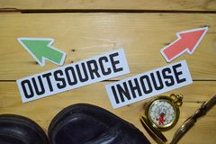Outsource or Inhouse opposite direction signs with boots,eyeglasses and compass on wooden. Vintage background. Business, education and finance concepts royalty free stock image