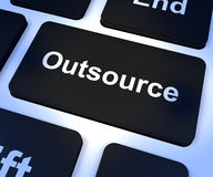 Outsource Key Showing Subcontracting And Freelance Royalty Free Stock Photo