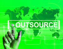 Outsource Map Displays International Subcontracting or Outsourci Royalty Free Stock Image