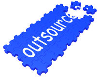 Outsource Puzzle Showing Subcontract Royalty Free Stock Image