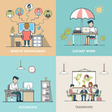 Outsource Teamwork Distant work Remote management. Linear Flat Business people at work vector illustration set. Outsourcing, Teamwork, Distant work, Remote Stock Photography