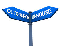 Outsource versus inhouse. Street sign showing outsource on one hand and in-house at another, concept of outsourcing versus self execution of non-core operations Stock Photos