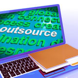Outsource Word Cloud Laptop Shows Subcontract And Freelance Royalty Free Stock Images