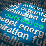 Outsource Word Cloud Shows Sub Contract Stock Image